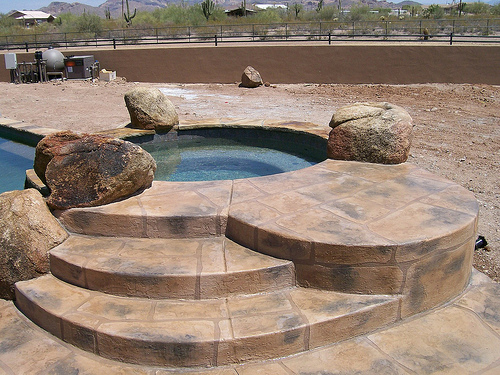 Acrylic Rustic Italian Stone installed by Advanced Deck Designs